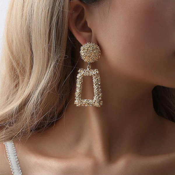 2019 Big Vintage Earrings for women gold color Geometric statement earring metal earing Hanging fashion jewelry trend