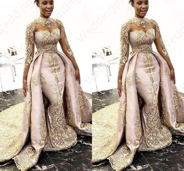 Designer di lusso con scollo a sirena Abiti da ballo con scollo staccabile maniche lunghe collo alto abiti da ballo in raso di pizzo Appliqued Plus Size abiti di promenade