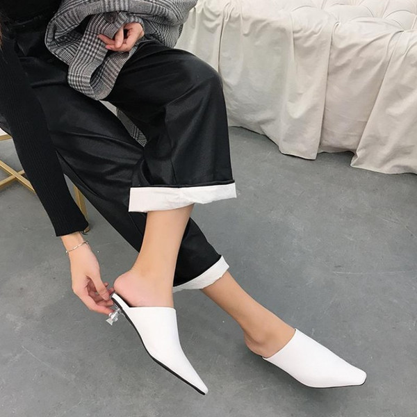 Current2019 Half Baotou Woman Square Crystal With Dawdler Shoe One Pedal Muller Shoes Clothes Slipper
