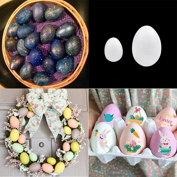 50Pcs Happy Easter Decoration Foam Egg Mold Painted Egg Rattan Wreath Crafts Hanging Ornaments Modelling White Balls for Party