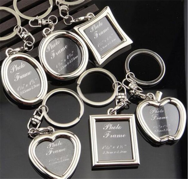 best selling 5000pcs Photo Frame Round Heart Apple Oval Rhombus Shape Metal Alloy Keychain Key Chain Keyring Car Keychains Couples Keyring Gift J039