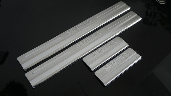 100% High quality Car accessories Stainless Steel Side Door Scuff Plate Door Sill Trim Fit For Nissan Sentra 2012 2013 2014