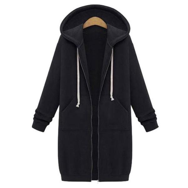 2018 Autumn Plus Size Womens Cardigan Long Hoodies Sweatshirt Hoody Coat Pockets Zip Up Outerwear Hoodies Clothes For Women Oversized Tops
