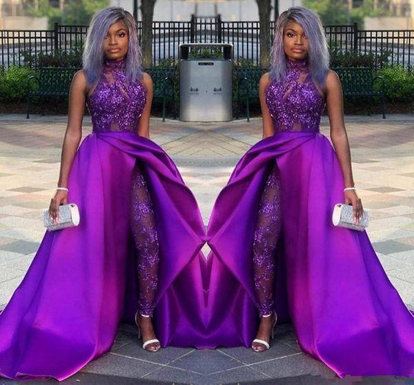 2019 классические комбинезоны платья выпускного вечера со съемным поездом полный кружева аппликация блестками вечерние платья роскошные африканские Партии женщины брюки костюмы