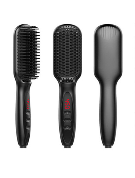 Alisador de cabelo Escova Anti Estática De Aquecimento De Cerâmica Detangling Mais Rápido Alisamento Pente de Barba Para O Homem Mulher