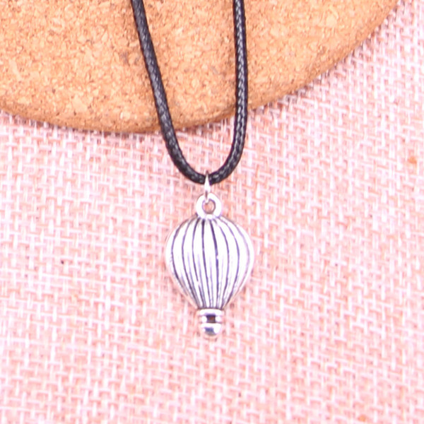 New Durable Black Faux Leather Antique Silver 21*13mm hot air balloon Pendant Leather Chain Necklace Vintage Jewelry Dropshipping