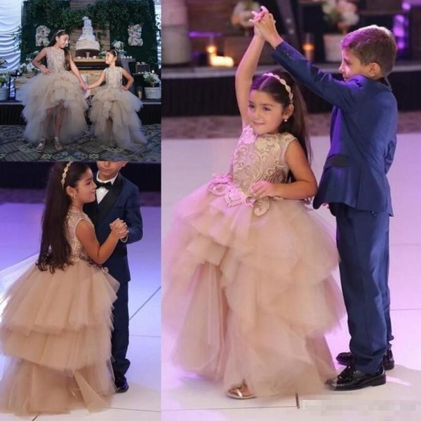 Ball Gown Flower Girl Dresses For Toddlers Jewel A Line Tiered Girls Pageant Dress With Lace Appliques First Communion Gowns Kids Wear