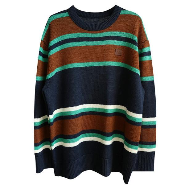 acne studios Tasarımcı marka Akne moda Kadınlar Uzun Kollu kazak tasarımcı giyim için şık Dış Giyim% 100 yün kazak AC Striped kazak
