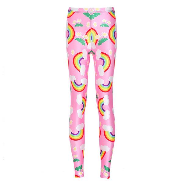 Girl Leggings Cartoon Rainbow 3D Digital Full Printed Fitness Yoga Wear Pants Woman Comfortable Pencil Fit Lady Runner Jeggings (RLLgs3604)