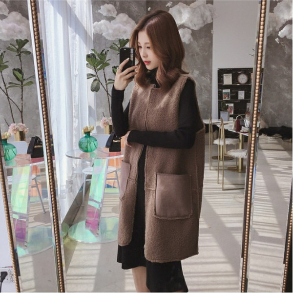 Autumn And Winter Lamb Hair Vest 2019 New Brown Fashion Ladies Vest Large size Long Thick Sweet Cardigan Coat 3XL AS163