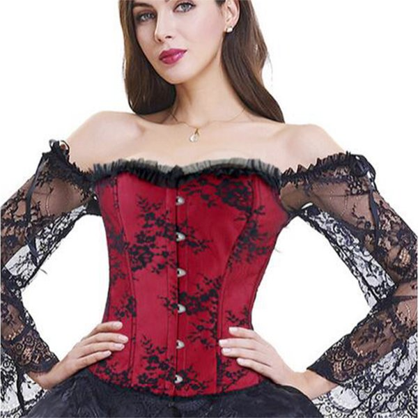 Shapewear Tops Boned Women Corset Perspective Party Slim Fit Off Shoulder Sexy Floral Flare Sleeve Overbust Button Dance Lace