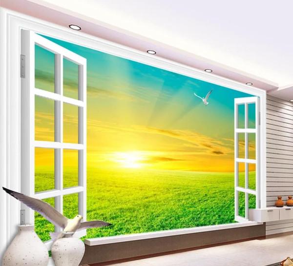 Branco janela deserto vista do nascer do sol 3D fundo parede papel de parede para paredes 3 d para sala de estar