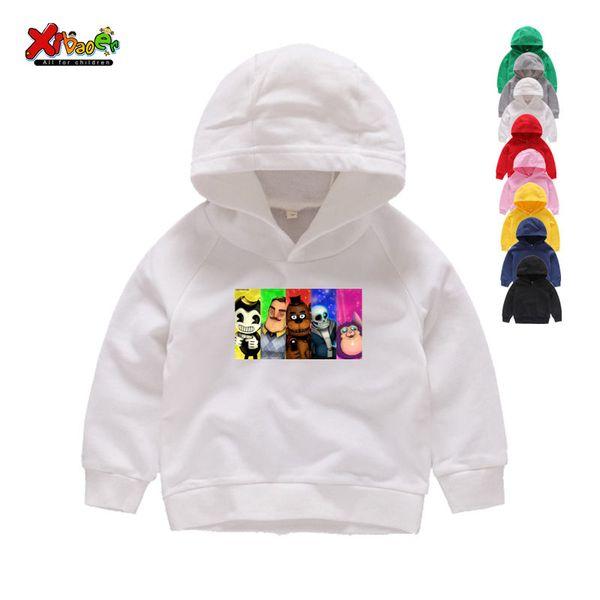 2019 Garçons et Filles du jeu Bonjour Neighbour Motif Hoodies Enfants Casual drôle Sweats à capuche blanc Sweat bébé 3T-8T T-shirt
