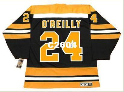 Maillot de hockey rétro vintage CCM Vintage des hommes # 24 TERRY O'REILLY Bruins 1973-1974 ou tout chandail rétro de coutume