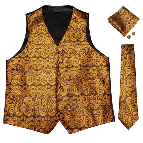 Hi-Tie Men's Luxury Golden Silk Jacquard Waistcoat Vest Handkerchief Cufflinks Party Wedding Tie Vest Suit Set MJTZ-0101