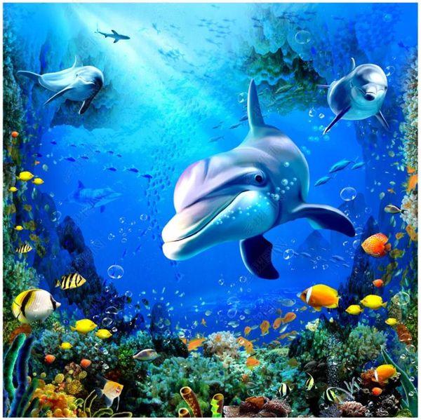Custom photo wallpapers 3d self-adhesive floor painting wallpaper Mediterranean Dolphin Ocean Living Room 3D Flooring mural Wall Stickers
