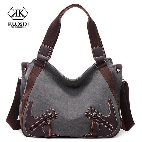 Canvas Women Shoulder Bags Casual Vintage Handbag Top Handle Tote Shopping Bags Shoulder Bag for Women 2019 Sac a Main