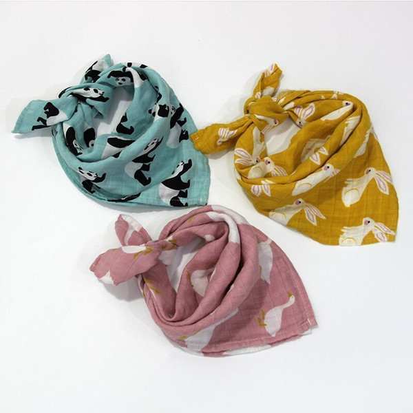 Burp Cloths 3pcs/lot Organic Cotton Gauze Muslin Activity Bib Bandanas Baby Bibs Soft Breathable Newborns Towel Scarf J190517