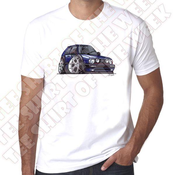 WickedArtz Cartoon Car Blue Golf Mk2 Mens 100% cotton White T-shirt New Fashion Casual Cotton Short-Sleeve Funny Top Tee Print