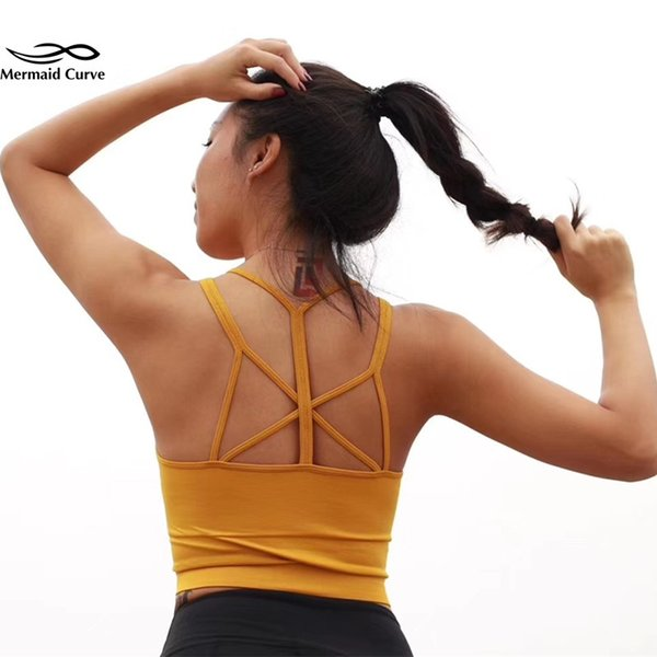 Yoga shirt Bra Top Padded Sleeveless Tanks seamless Gym Elastic force black Crop Tops Fitness Running Sport tight top vest Women #135254