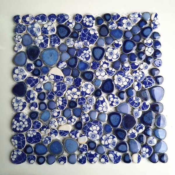 Glazed blue white pebble porcelain ceramic mosaic kitchen backsplash wall tiles PPMTs29 bathroom wall flooring tile