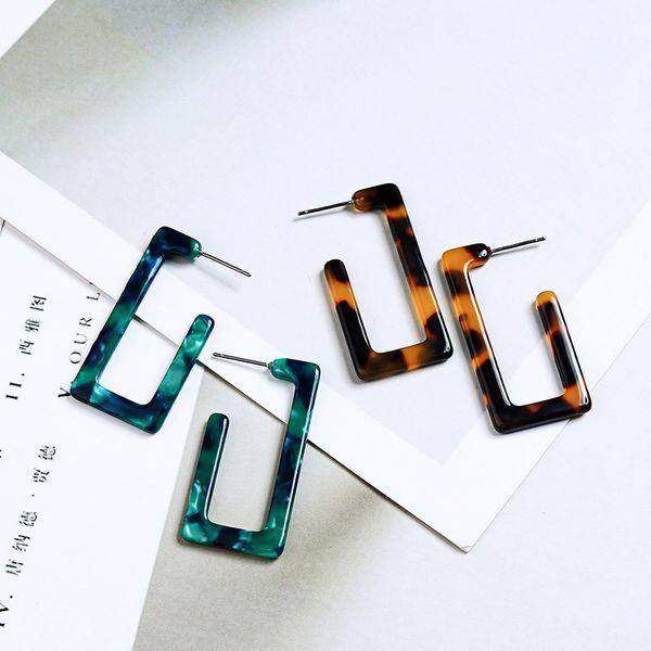 Специальный творческий смолы геометрии уха шпильки для женщин, горячие преувеличивать серьга с S925 Серебряная игла, мода акриловые серьги для лидера тренда