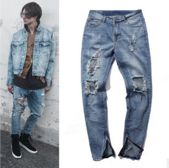 Mens Jeans Pants Casual Skinny Hip Hop Broken Hole Joggers Pants Street Style Blue Asian Size Free Shipping