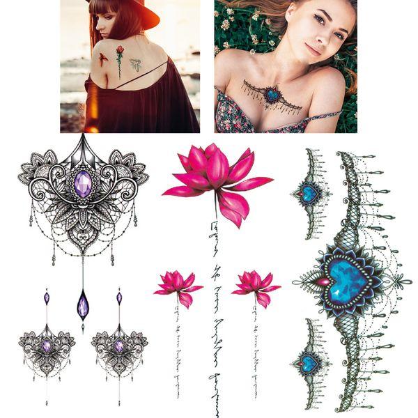 Tatuaje temporal Chica Pulsera de cintura Flash Tatoos Flor Purple Rose Jewelry Transferencia de agua Tatuaje Pegatinas Mujeres Body Chest Art