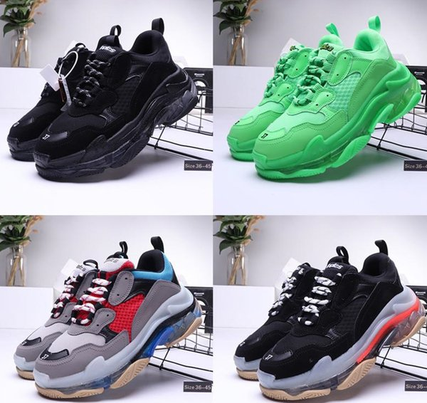 designer casual shoes triple s clear bubble midsole triple black green men women casual shoes platform sports sneakers trainers size 36-45