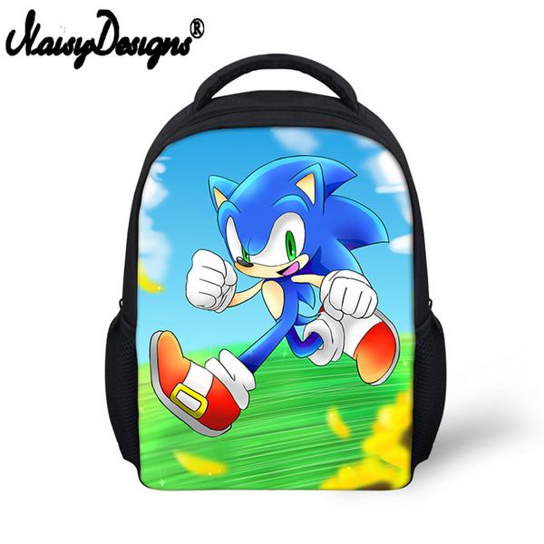 Noisydesigns 12 Inch Super Mario Bros Sonic Boom Hedgehogs Kindergarten School Bags Bookbags Children Baby Toddler bag Kids Gift