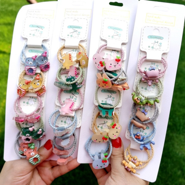 top popular Cute Crown cartoon does not hurt rope children's Little girl rubber accessories 5 pairs rubber Hair band hair band 2021