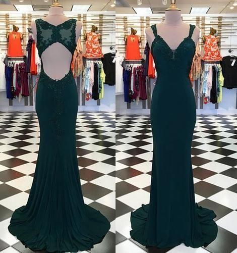 Emerald Green Mermaid Evening Prom Dresses Applique Sequins Beaded Sweetheart Open Back Chiffon Elegant Formal Dress Special Occasion Dress