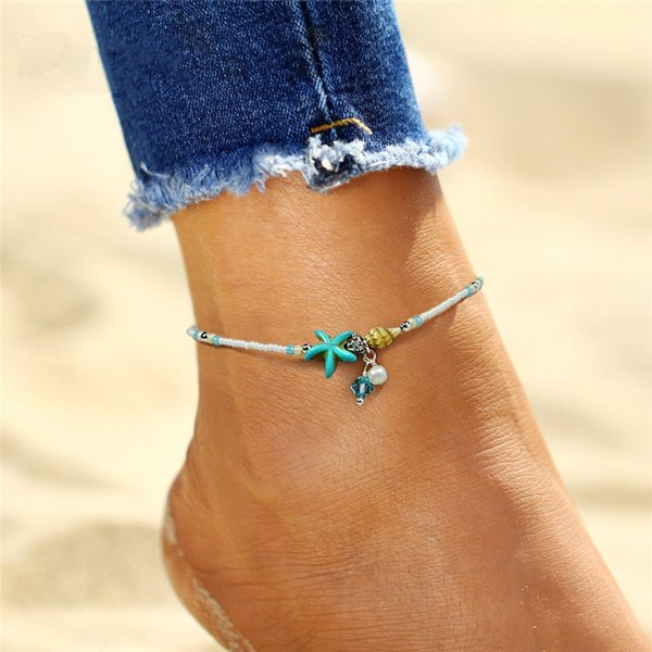 Boho freshwater pearl charm anklets women barefoot sandals beads ankle bracelet summer beach starfish beaded ankle bracelets foot jewelry