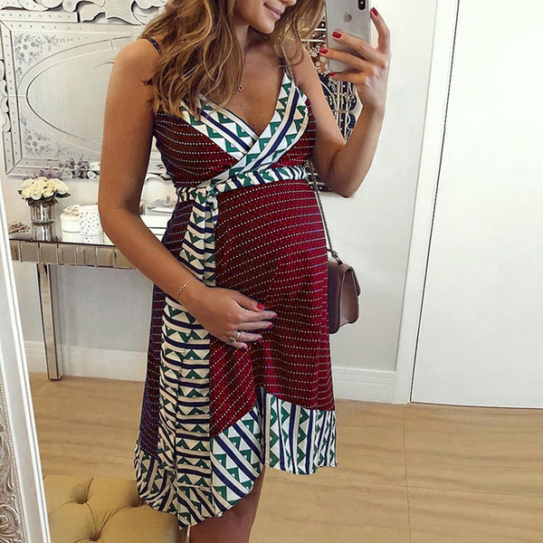 Maternity Dresses Women Pregnancy Dresses For Summer Sleeveless Pregnant Dress Purple Womens Printed Strap Plus Size Women's Casual Clothes