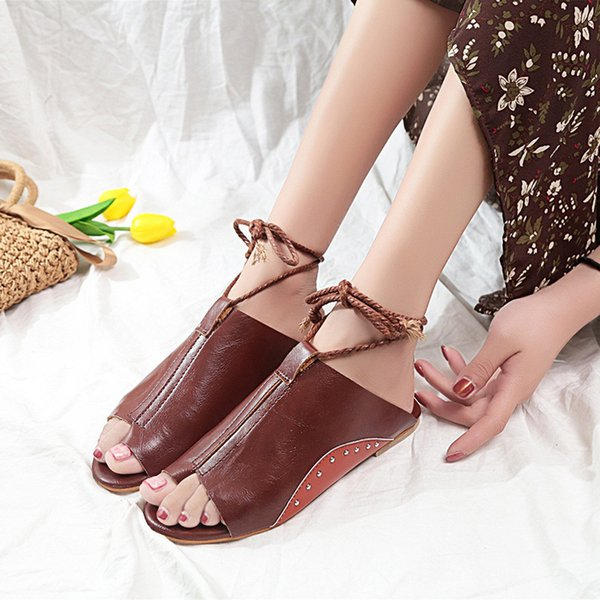Sandálias de verão Mulheres Sandálias Planas Gladiador Mulheres Sapatos Mulher Tira No Tornozelo Roma Sapatos Retro Lace Up Senhoras