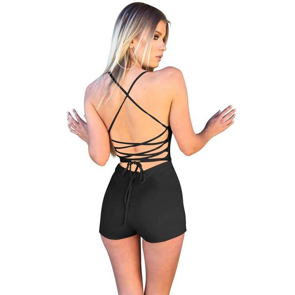 Sexy Sleeveless Jumpsuits Women One Piece Yoga Set Bandage Sportswear Backless Bodysuits Solid Yoga Pants Women Sports Shorts #147395