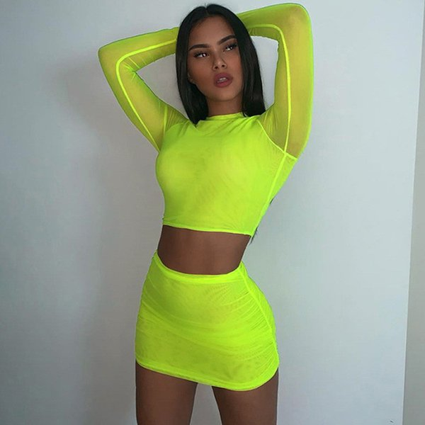 Fluorescence Two Piece Set Women Fashion Sexy Mesh Material Outfit 2019 Summer Skirts with Full Sleeve Crop Top Skinny Set