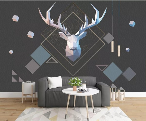 Nordic Geometrical Deer Mural Creative Art Wallpaper Wall Mural Photo Wall Paper Contact Paper Home Improvement Black Cover