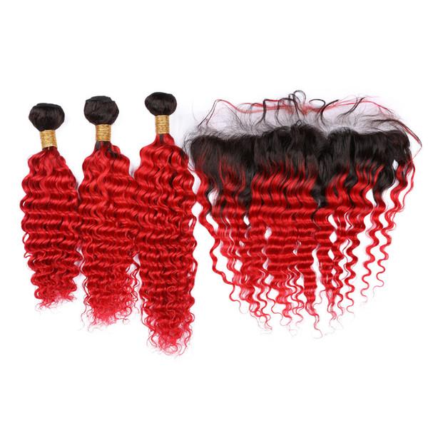 Mekân donanımı ile Frontal # 1B ile Derin Dalga Kızıl Ombre Malezya Saç Paketler / Kırmızı Koyu Kök Ombre Dalgalı İnsan Saç 13x4 Dantel Frontal Kapanış
