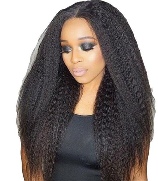 Italien Yaki Droite 5 * 4.5 '' Soie Top Full Lace Perruques de cheveux humains Pour Les Femmes Noires Lumière Yaki Soie Base Perruques Avant de Lacet