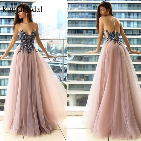 Blush Prom Dresses Lace Appliques Beading Crystal Tulle Pink Evening Dresses Vestidos de Fiesta Arabic