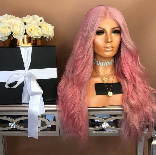 Long Pink Body Wave Synthetic Wig for Women Holiday Party Cosplay Wigs High Temperature Fiber USM513