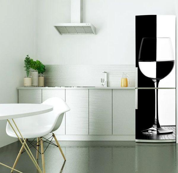 Fridge Wrap /Black White Wine Glass /Removable Self Adhesive Vinyl /Peel and Stick Decal Wallpaper