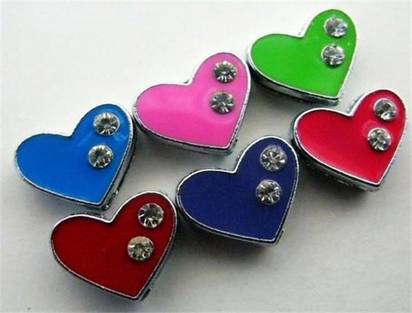 Wholesale Price 50pcs-100pcs 8mm Mix Color Heart With Two Rhinestone Slide Charms DIY Charms Fit Pet Collars Wristbands Belts