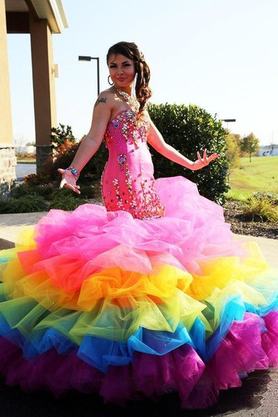 Colorful Rainbow Mermaid Quinceanera Dresses Tiered Skirt Majior Beading Sweetheart Strapless Formal Prom Wear Teen Girls Sweet 15 Dress
