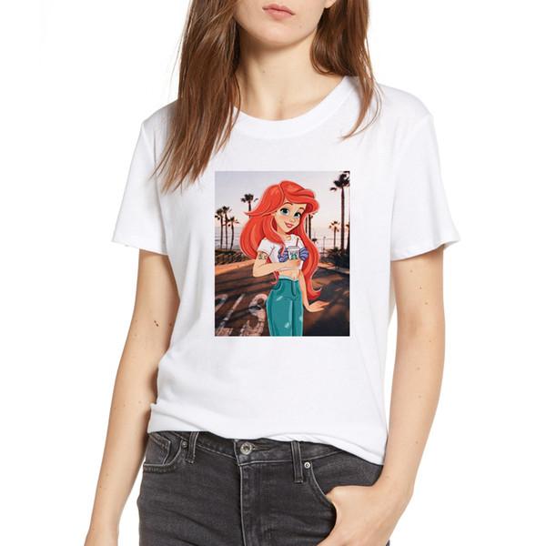 Women's Camiseta Mujer Vintage 90s Ariel Printed T Shirt Gothic Model Funny T-shirts Kyku White Casual Tee Korean Clothes Tshirt