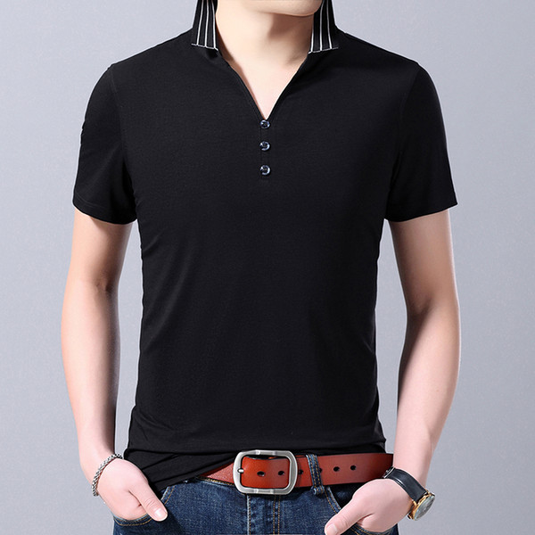 2019 New Fashion Brand Clothing Polo Shirt Mens V Neck Blank Summer Short Sleeve Slim Fit Korean Polos Casual Men's Clothing