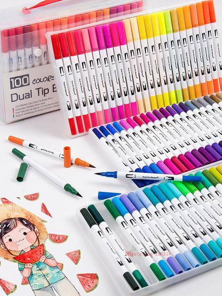 top popular free shipping hot 100 color watercolor pen soft head double head color pen set washable art brush hook line brush 2020