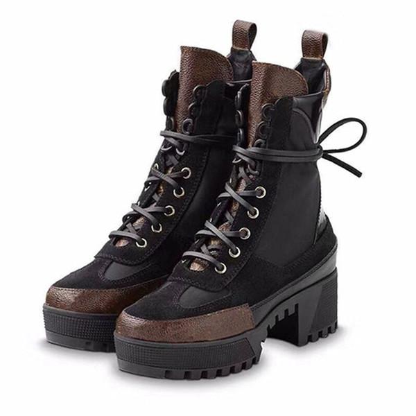 Flamingolar Kadınlar Tasarımcı Boots Martin Desert Boot Son Aşk Ok Madalyası% 100 Gerçek Deri Kaba Boyut Us5-11 Kış Ayakkabı P-2