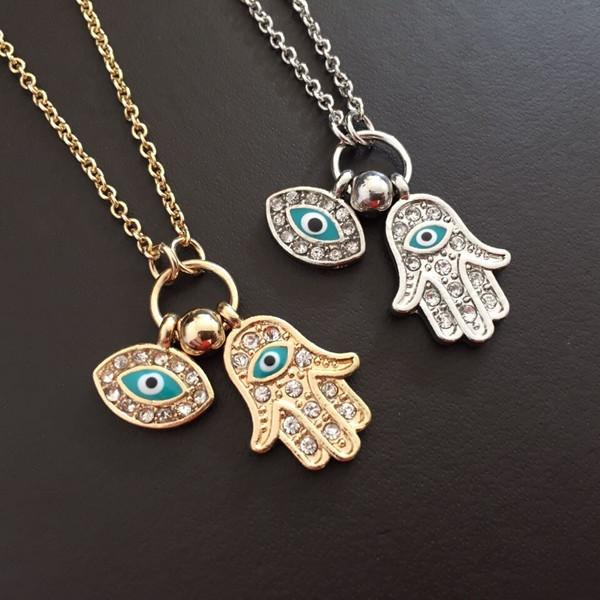 Vente chaude vintage arabes cristal Yeux mauvais Hamsa Pendentifs main Collier Marque Chance Fatima Collier Déclaration de la chaîne d'or à la main